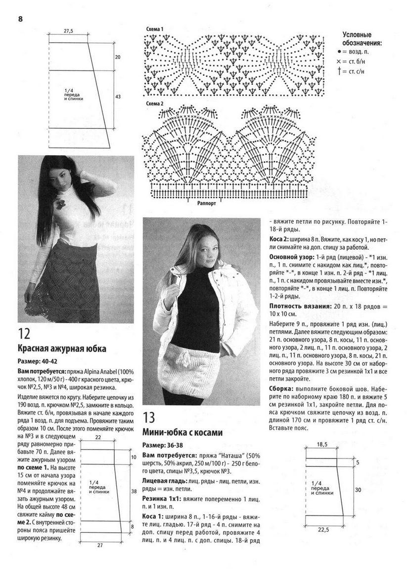 Вязание крючком юбки для женщин со схемами 3