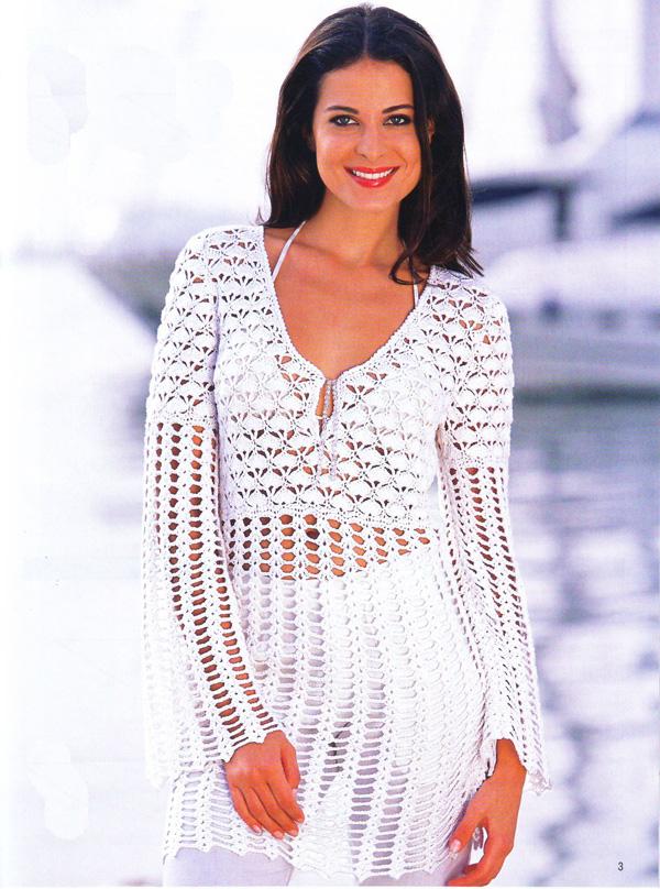 Белая летняя туника. Вязание