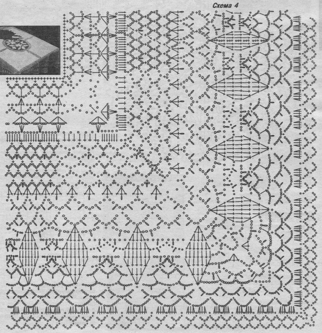 Схема для вязания крючком скатерти на прямоугольный стол 67